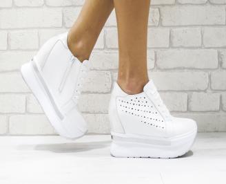 Дамски обувки  на платформа естествена кожа бели LFWR-25881