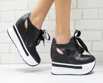 Дамски обувки  на платформа естествена кожа черни WATG-25882