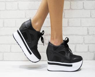Дамски обувки  на платформа естествена кожа черни TDDW-25883