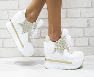 Дамски обувки  на платформа естествена кожа бели WOJZ-25884