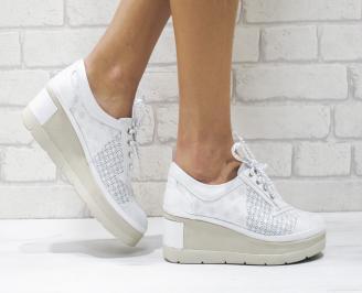 Дамски обувки  на платформа естествена  кожа сиви FMHG-26078