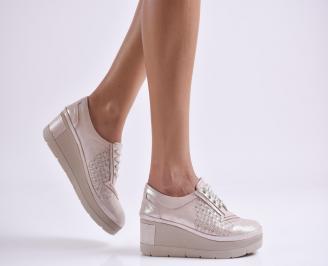 Дамски обувки  на платформа естествена  кожа пудра TWXA-26080