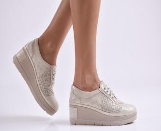 Дамски обувки  на платформа естествена  кожа бежови XSVN-26081