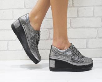 Дамски обувки  на платформа естествена  кожа сиви UPBM-26084