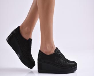 Дамски обувки  на платформа естествена  кожа черни YYXK-26086