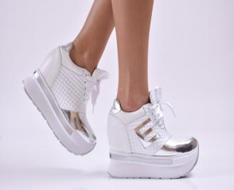 Дамски обувки  на платформа естествена кожа бели DDCB-26179