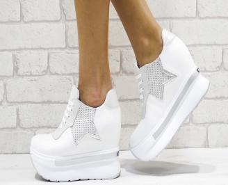 Дамски обувки  на платформа естествена кожа бели NCOI-26180