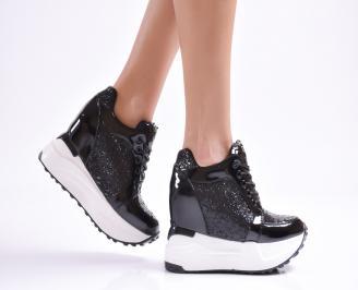 Дамски обувки  на платформа еко лак/брокат черни WZID-26306