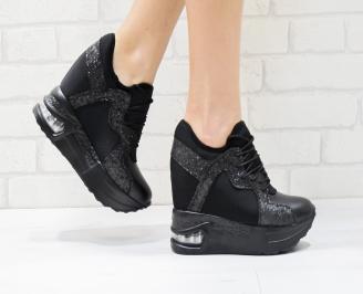 Дамски обувки  на платформа еко кожа черни JCYS-26425