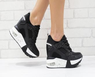 Дамски обувки  на платформа еко кожа черни RBYJ-26426