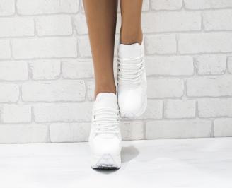 Дамски обувки  на платформа еко кожа бели QDRE-26427