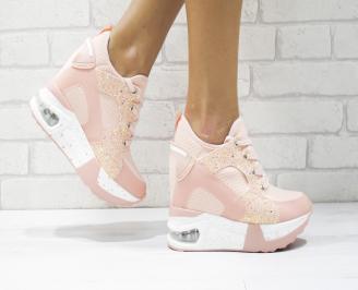 Дамски обувки  на платформа еко кожа розови CMCR-26428