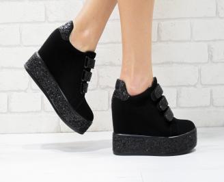 Дамски обувки  на платформа еко велур черни AOUB-26429