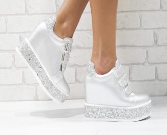 Дамски обувки  на платформа еко кожа сребристи VPHL-26430