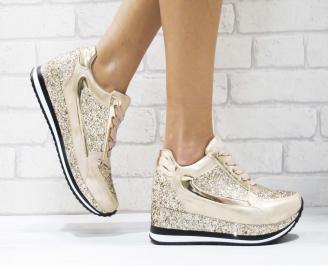 Дамски  обувки на платформа еко кожа/брокат пудра RNUT-26438