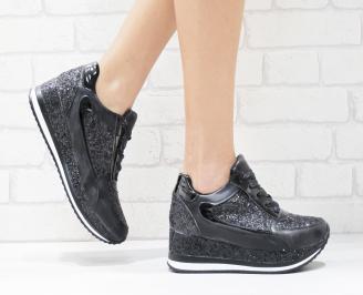 Дамски  обувки на платформа еко кожа/брокат черни GFFT-26439