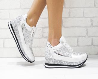 Дамски  обувки на платформа еко кожа/брокат сребристи KKTB-26440