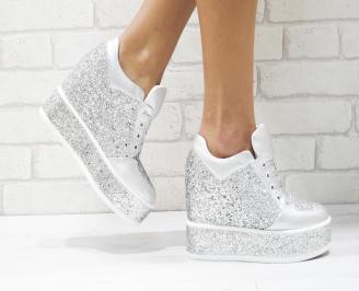 Дамски обувки  на платформа еко кожа сребристи RHGO-26442