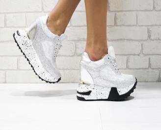 Дамски обувки  на платформа еко кожа/брокат сребристи HOWU-26443