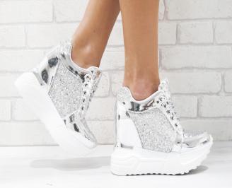 Дамски обувки  на платформа еко кожа/паети сребристи UXPA-26449