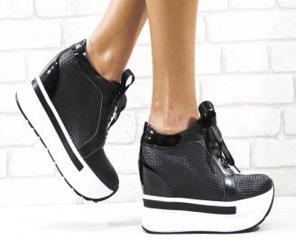 Дамски обувки на платформа естествена кожа черни NHJR-26484