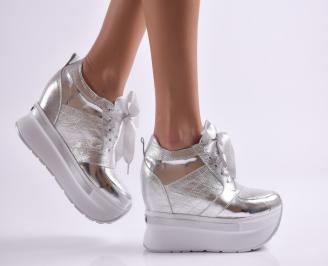 Дамски обувки на платформа естествена кожа сребристи QOCS-26490