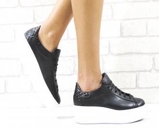 Дамски обувки на платформа естествена кожа черни MKVV-26491