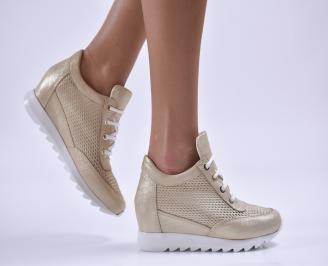 Дамски обувки на платформа естествена кожа златисти CGHT-26495