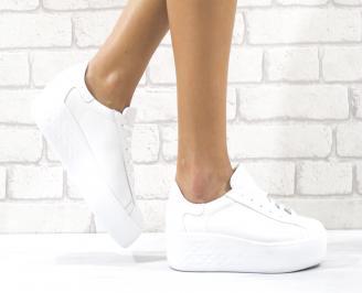 Дамски обувки на платформа естествена кожа бели VHEQ-26497
