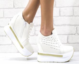 Дамски обувки на платформа естествена кожа бежово-златисти GVRY-26499