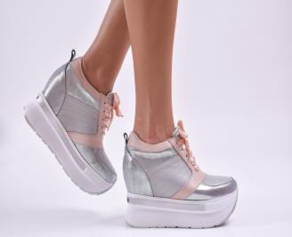 Дамски обувки на платформа естествена кожа пудра/сребристи EVSM-26500