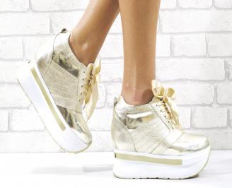 Дамски обувки на платформа естествена кожа златисти FYUE-26504