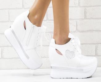 Дамски обувки на платформа естествена кожа бели KESA-26541