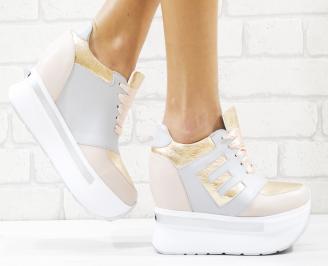 Дамски обувки на платформа естествена кожа пудра PEXZ-26542