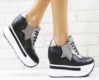 Дамски обувки на платформа естествена кожа черни DQWC-26543