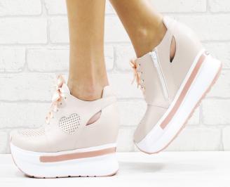 Дамски обувки на платформа естествена кожа пудра WQYB-26545