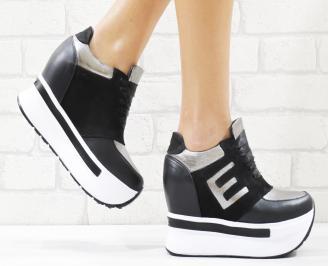 Дамски обувки на платформа естествена кожа черни LIIT-26547