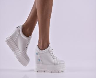 Дамски обувки  на платформа еко кожа бели CYDD-26806