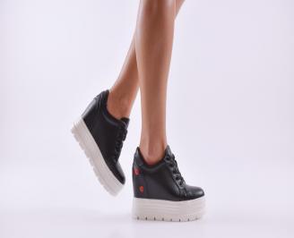 Дамски обувки  на платформа еко кожа черни EPYK-26807