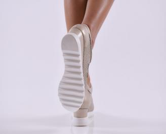 Дамски обувки  на платформа естествена кожа златни KFAM-26809