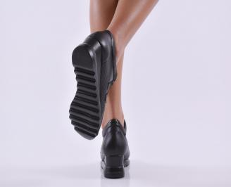 Дамски обувки  на платформа естествена кожа черни PMBI-26815