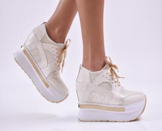 Дамски обувки на платформа естествена кожа бежови ETFZ-26853
