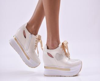 Дамски обувки на платформа естествена кожа бежови MXFD-26854