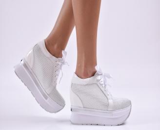 Дамски обувки на платформа естествена кожа бели ODLO-26855