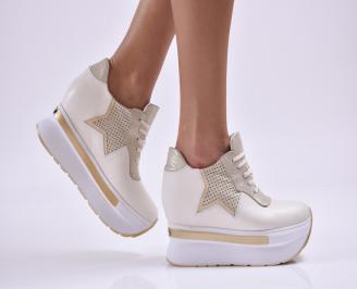 Дамски обувки на платформа естествена кожа бежови HENI-26856