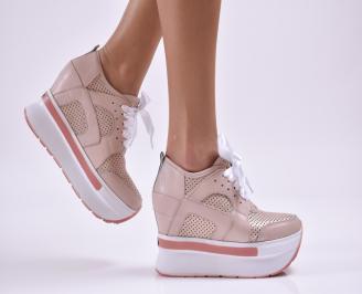 Дамски обувки на платформа естествена кожа пудра JQRU-26857