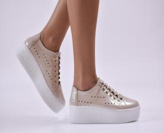 Дамски обувки на платформа естествена кожа бежови