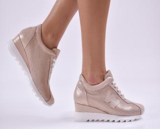 Дамски обувки на платформа естествена кожа пудра HNNQ-26870