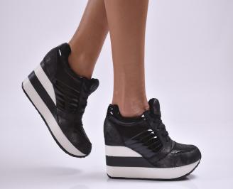 Дамски обувки  на платформа еко кожа черни NGRI-26873