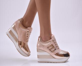 Дамски обувки  на платформа еко кожа розови FDJA-26874